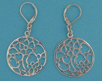 Flower Garden Sterling Silver Lever Back Earrings