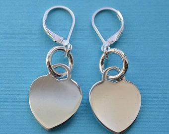 Sterling Silver Lever Back Heart Earrings 02