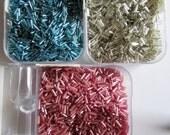 SALE - DETASH - Silver-lined Tuquoise Blue Bugle Bead, Silver-lined Silver Bugle Bead, Silver-lined Pink Bugle Bead