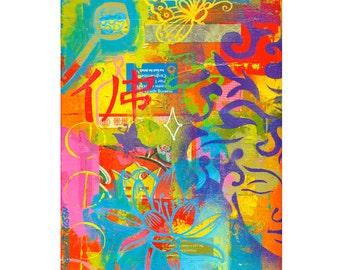 buddha art collage asian lotus chinese type zen butterfly PRINT 8x10   by Elizabeth Rosen