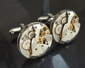 Steampunk Jewelry, Steampunk Cufflinks with small round vintage watch movements. Vintage upcycled mens Cuff Links,Gift under 25 Dollars