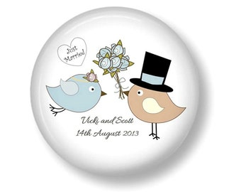 Wedding favor  20 personalised fridge magnet wedding favors Lovebirds 2