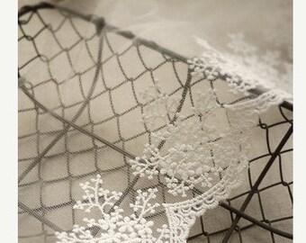 off white lace trim, embroidered lace, bridal lace, vintage lace, scalloped lace trim, retro floral lace
