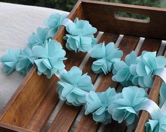 blue chiffon rosette trim, chic rosette, shabby chiffon rosette, chiffon rose flowers, wedding decors, bouquet supply