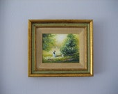 Original Artwork Framed Charles Parthesius Enamel Painting on Copper Woman & Sailboats NY Impressionist