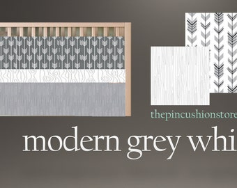 Baby Bedding  /Premium Fabrics White and Grey  Modern Crib Bedding