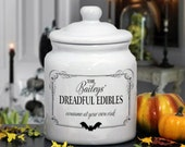 Personalized Halloween Treat Jar : Spooky Design for Cookies, Candies, Nuts, and Sweets
