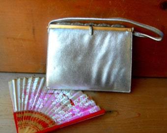 Vintage silver purse 1950s fifties evening purse