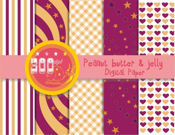 Peanut butter and jelly digital paper hearts, stripes, stars, gingham ...