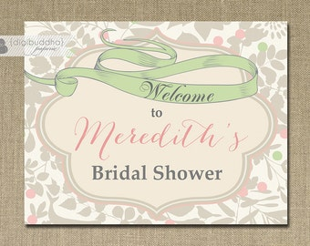 Welcome Sign Bridal Shower Pink Mint Ribbon Blush Green Printable 8x10 Chic Baby Bride Sign DIY Digital or Printed - Meredith Style