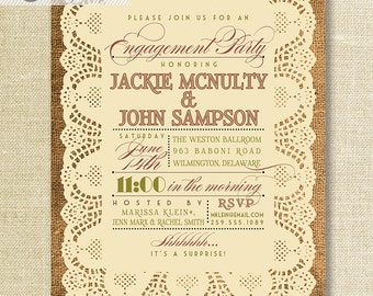 Lace Burlap Engagement Party Invitation Chic Rustic Typography Wedding Announcement DIY Digital or Printed - Jackie Style