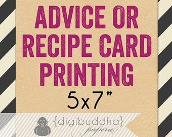 """RECIPE CARD PRINTING or Advice Card Printing for any digibuddha Recipe or Advice design. Card Stock 5x7"""" Bridal Kitchen Wedding Baby Shower"""