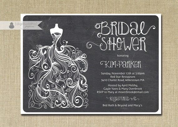 Chalkboard bridal shower invitation gown sketch black white chalk il570xn filmwisefo