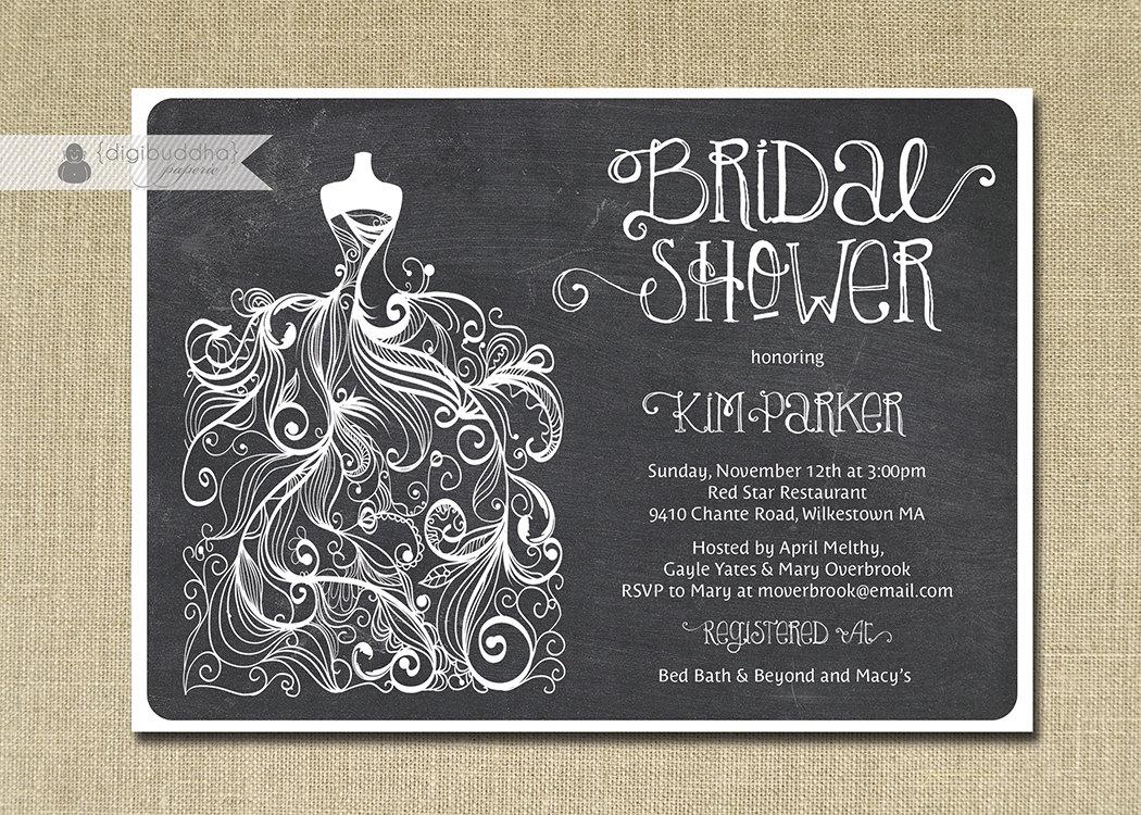 Free Wedding Shower Invitations: Chalkboard Bridal Shower Invitation Gown Sketch Black White
