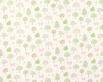 Laura Ashley cotton fabric Esme design, pink and green, butterflies and trees.