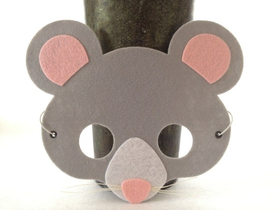 mouse mask felt animal mask halloween costume von icrownyou. Black Bedroom Furniture Sets. Home Design Ideas