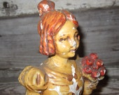 Vintage Chalk Statue Very Chippy Victorian Woman Creepy Ghostly Looking Great Antique Look Carnival Prize 1950s Painted Chalkware Shabby