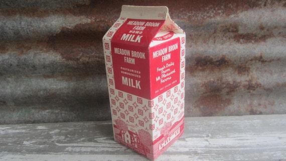 Antique Paper Milk Carton Red Amp White Meadow Brook Farm Mt
