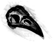 Instant Download Digital File made after My Original Watercolor Painting - Raven Skull, Crow Skull - Digital File Vector ai or jpg