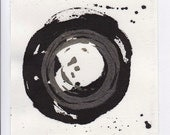 Enso IV - November 2013, linocut print and sumi ink on Hosho rice paper, small art work