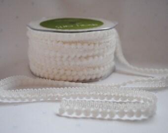 Mini bobble trim, white, 1m (1.1yard), Pompom trim, pon pon