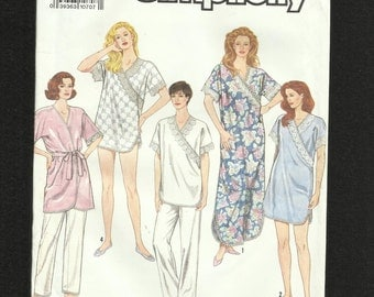 Simplicity 7031 Cap Sleeve Nightgowns & Lounging Pajamas with Cross Front V Neckline  Sizes 6 to 24 UNCUT