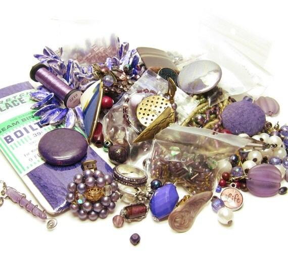 Purple Jewelry Destash Lot of Vintage, Beads, Miscellaneous Jewelry Findings