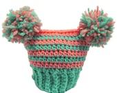 Newborn Pink and Green PomPom Hat