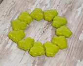 Chartreuse Green Maple Leaf 10x13mm Bead Czech Glass MOUNTAIN GREENERY (10)