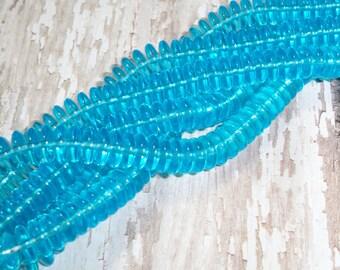 Blue Czech Glass 8mm Bead Aqua Rondelle Disc Wafer Spacer HURRICANE (50)