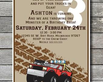 Monster Truck Birthday Invite - You Print