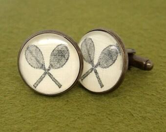 Vintage Style Tennis Squash Racket Cufflinks