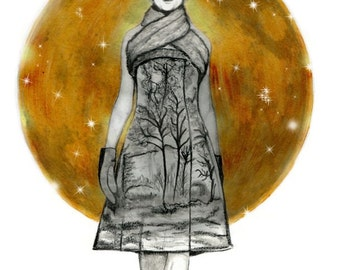 Fashion illustration golden moon, antlers and stars