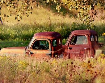 Rusty Trucks Photo, Vintage Car Photography, Rustic Farmhouse Country Print, Livingroom Man Cave Boys Room Nursery Home Decor Wall Art
