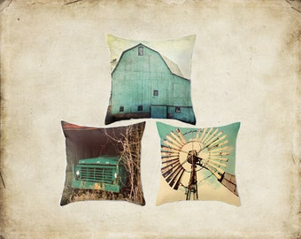 Throw Pillow Cover Aqua Country Set Barn Teal Turquoise Truck Windmill Rustic Farmhouse Decor Photo Case Home Bedroom Livingroom