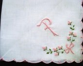 Vintage Handkerchief,  Monogram, Hand Embroidery, Pink Green Embroidery, Scalloped Edge, Unused