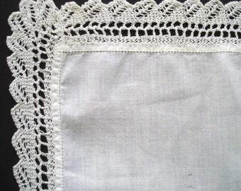 CLASSY LADIES HANDKERCHIEF Vintage Handkerchief Unused White Cotton Hankie with Lace Border