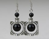 Black onyx square frame drop Earrings Bridesmaids gifts Free US Shipping handmade Anni Designs
