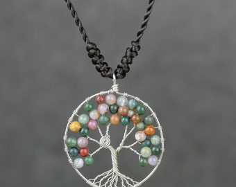 Indian agate tree branch pendant necklace Free US Shipping handmade Anni Designs