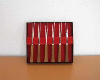 Mid Century Teak Appetizer Forks, Set of 6