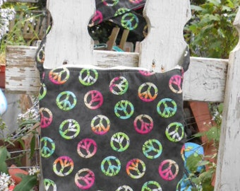Handmade purse, Peace Signs,   over the shoulder/chest