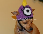 Instant Download Crochet Pattern - Dog hat -One eyed, One horned, Monster - Small Dog Beanie
