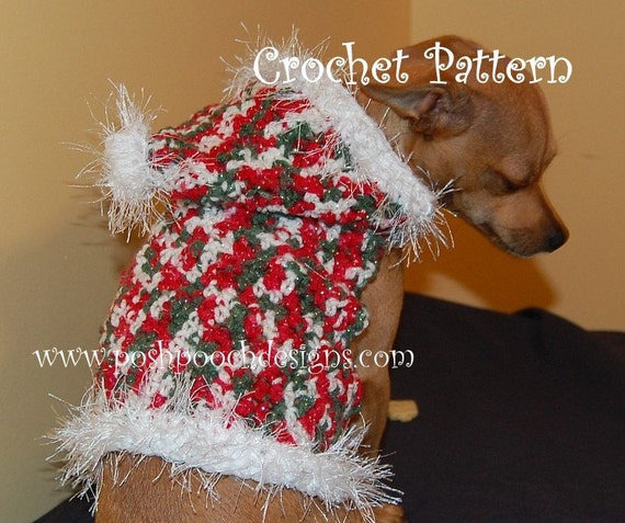 Instant Download Crochet Pattern - Christmas Sparkle Dog Hoodie - Small Dog Sweater 2-20 lbs