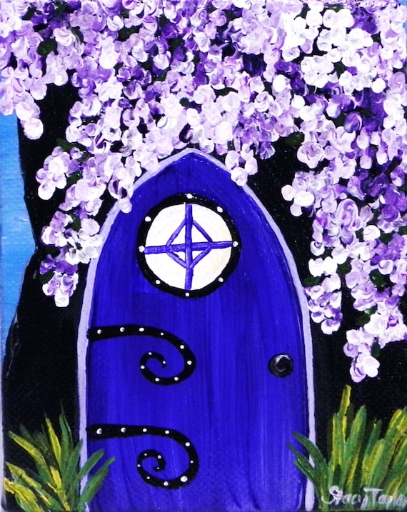 Fantasy art fairy door painting cobalt blue by stacysartstudio for Original fairy door