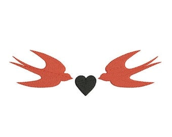 Instant download swallow heart embroidery design machine applique