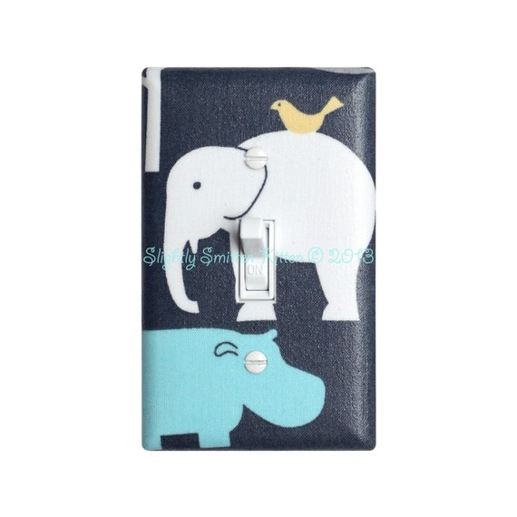Elephant Light Switch Plate Cover Baby Boy Hippo Nursery