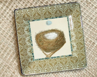 Birds nest - robins egg - decorative plate - wall hanging - bird art - blue egg - decoupage plate - rustic decor - vintage - egg print