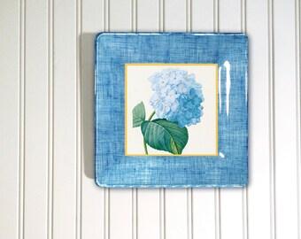 hydrangea art - blue flower - botanical - floral print - decoupage plate - cottage decor - floral art - hanging plates - hydrangea print