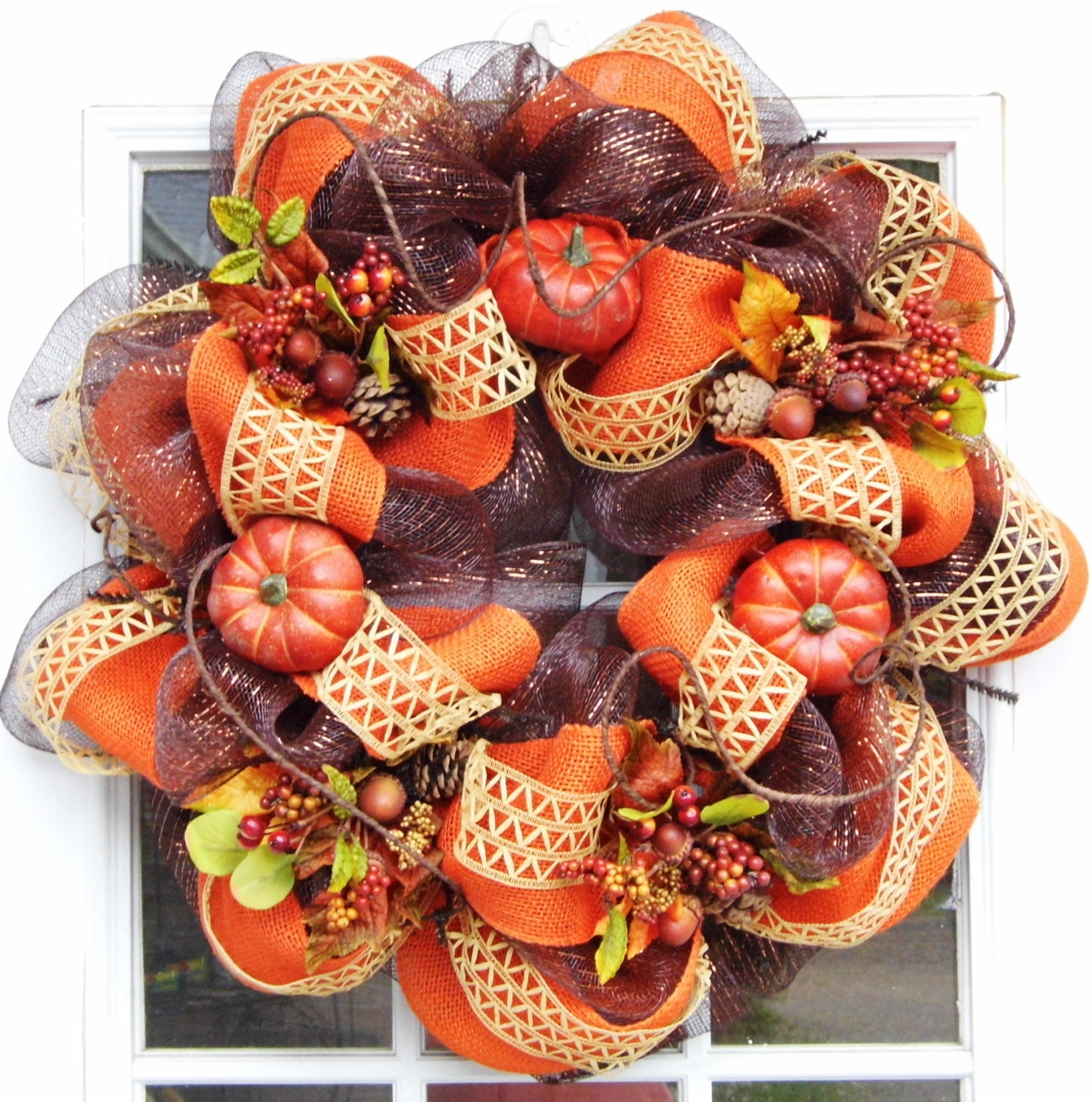 Fall Autumn Deco Mesh Wreath