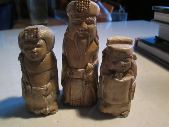 netsuke, the Royal family..the Chinese Emperor, his Queen and Royal Scribe,  set of all 3..antiqued bronze